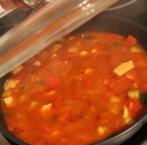 Fastfood – Hühnergulasch mit buntem Gemüse